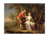 Amorous allegorical Scenes in wooded Landscapes