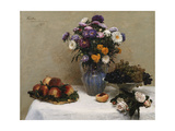 White Roses and Chrysanthemums in a Vase - Peaches and Grapes on a Table with a White Tablecloth