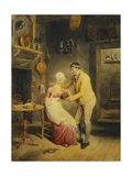 Idle Moments: a Boy Showing a Girl a Nest of Fledgelings in an Interior