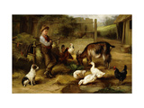 A Boy with Poultry and a Goat in a Farmyard