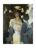 Portrait of Frances Josephine Furse  the artist's Sister-In-Law wearing a Blue Oriental Jacket