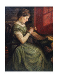 Portrait of a Lady Seated in an Armchair Sewing
