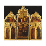 An Altarpiece in three Sections with the Coronation of the Virgin and Saints