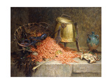 A Lobster  Shrimps and a Crab by an Urn on a Stone Ledge