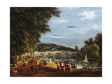 A View of Richmond Bridge with Boats on the River and Figures Promenading