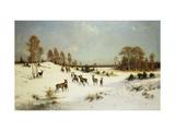 Deer in a Wooded Winter Landscape