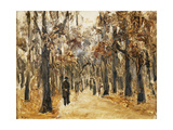 Zoological Gardens in Autumn with Figures Walking