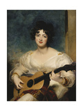 Portrait of Lady Wallscourt  a Striped Scarf Across Her Knees  Playing a Guitar