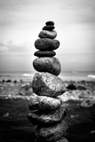 Balancing Rocks on Beach Black White Plastic Sign