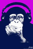 Steez Headphone Chimp - Purple Plastic Sign