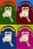 Steez Monkey Headphones Quad Pop-Art Plastic Sign