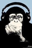 Steez Headphone Chimp - Blue Plastic Sign