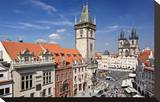 City Hall and Church of Our Lady Before Tyn on Old Town Square in Prague  Czech Republic