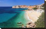 Beach with the Old Town of Dubrovnik  Dalmatia  Croatia