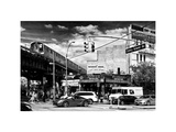 Urban Scene  Coney Island Av and Subway Station  Brooklyn  Ny  US  White Frame