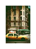 Urban Scene with Yellow Cab on the Upper West Side of Manhattan  NYC  White Frame