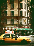 Urban Scene with Yellow Cab on the Upper West Side of Manhattan  NYC  Vintage Colors Photography