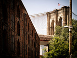 Manhattan Bridge of Brooklyn Park  Vintage Colors  Manhattan  New York  United States