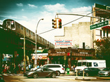 Urban Scene  Coney Island Av and Subway Station  Brooklyn  Ny  US  USA  Vintage Color Photography
