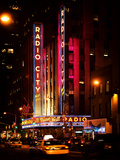 Radio City Music Hall and Yellow Cab by Night  Manhattan  Times Square  NYC  USA  Vintage Colors