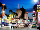 Landscape  Night  Hollywood Blvd  Los Angeles  California  United States