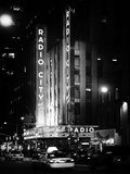 Radio City Music Hall and Yellow Cab by Night  Manhattan  Times Square  NYC  Old Classic