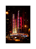 Radio City Music Hall and Yellow Cab by Night  Manhattan  Times Square  NYC  Vintage Colors