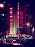 Radio City Music Hall and Yellow Cab by Night  Manhattan  Times Square  NYC  Old Vintage Colors
