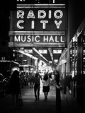 Urban Scene  Radio City Music Hall by Night  Manhattan  Times Square  New York  White Frame