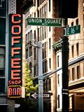 Coffee Shop Bar Sign, Union Square, Manhattan, New York, United States, Vintage Colors Papier Photo par Philippe Hugonnard