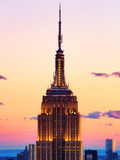 Top of Empire State Building at Pink Sunset  Manhattan  New York  United States