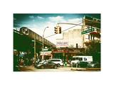 Urban Scene  Coney Island Av and Subway Station  Brooklyn  Ny  US  White Frame