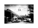 Urban Scene  Coney Island Av and Subway Station  Brooklyn  Ny  US  White Frame  Old