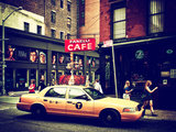 Urban Scene  Yellow Taxi  Prince Street  Lower Manhattan  New York City  United States  Vintage