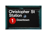Subway Station Sign  Christopher Street Station  Downtown  Manhattan  NYC  White Frame