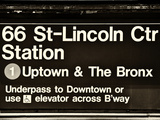 Subway Sign at Times Square  66 Street Lincoln Station  Manhattan  NYC  USA  Sepia Photography