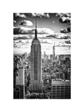 Cityscape  Empire State Building and One World Trade Center  Manhattan  NYC  White Frame