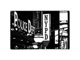 Nypd Police Dept  Times Square  Manhattan  NYCa with White Frame  Full Size Photography Vintage