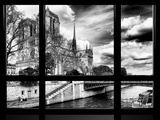 Window View  Special Series  Notre Dame Cathedral  Seine River  Paris  Black and White Photography