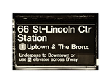 Subway Sign at Times Square  66 Street Lincoln Station  Manhattan  NYC  White Frame