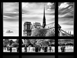 Window View  Special Series  Notre Dame Cathedral View  Paris  Europe  Black and White Photography