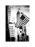 Skyscrapers View  American Flag  Midtown Manhattan  NYC  White Frame  Old