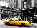 Urban Scene, Yellow Taxi, Prince Street, Lower Manhattan, NYC, Black and White Photography Colors Papier Photo par Philippe Hugonnard