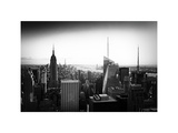 Skyline at Sunset  Empire State Building  Manhattan  US  White Frame  Old Black and White