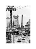 "Road Traffic on ""59th Street Bridge"" (Queensboro Bridge)  Manhattan Downtown  NYC  White Frame"