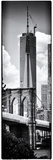 Vertical Panoramic View of Brooklyn Bridge View and One World Trade Center  Manhattan  NYC