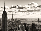 Skyline with the Empire State Building and the One World Trade Center  Manhattan  NYC  Sepia Light