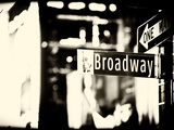 Urban Sign  Broadway Sign at Times Square by Night  Manhattan  New York  USA  Old Sepia Photography