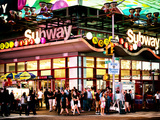 Urban Lifestyle Scene  Subway Station at Times Square  42St  Manhattan  NYC  USA  Vintage Colors