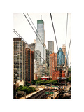Roosevelt Island Tram Station (Manhattan Side)  Manhattan  New York  White Frame  Vintage
